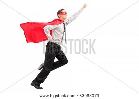 Profile shot of a superhero launching into the air isolated on white background