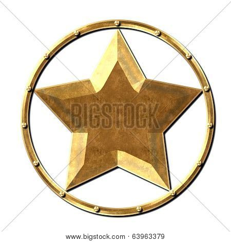 Metal Star Logo Steel Gold