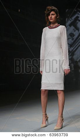 ZAGREB, CROATIA - APRIL 10: Fashion model wears clothes made by Tatjana Pantos on