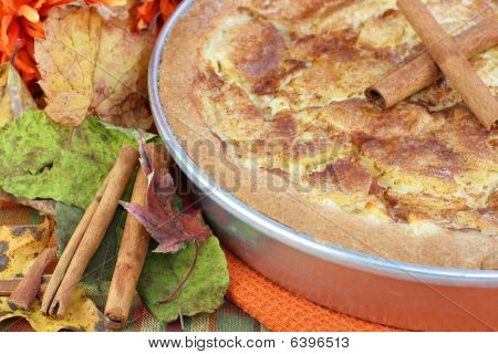 Close Up Of Apple Kuchen Cake In Autumn Setting