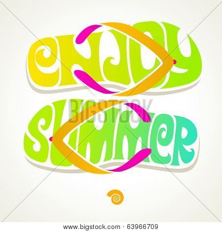 Flip-flop with summer greeting - vector illustration