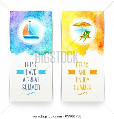 Summer holidays and travel banners with greetings and watercolor elements - vector illustration