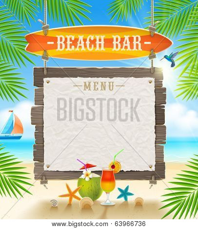 Tropical beach bar  - signboard surfboard and paper banner for menu - summer holidays vector design