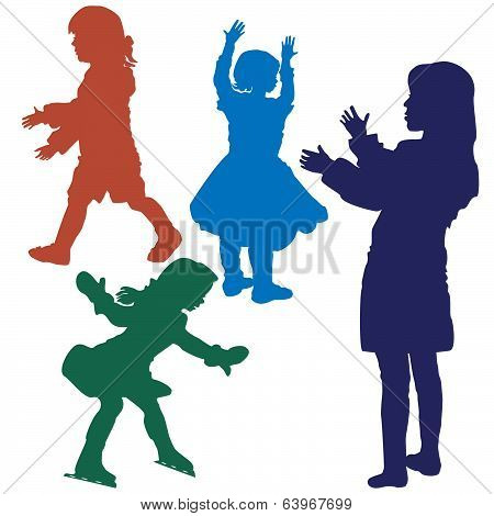 silhouette of girls