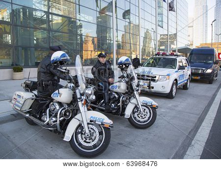 NYPD highway patrol officers on motorcycles providing security in Manhattan