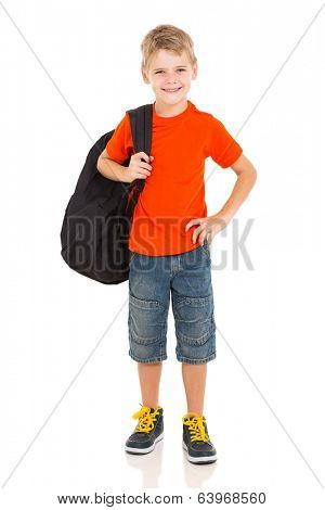 cheerful young boy carrying schoolbag