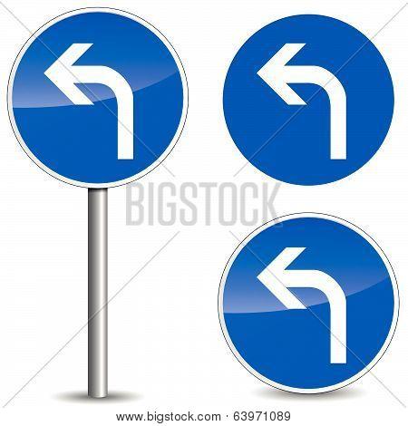 Vector Left Roadsign