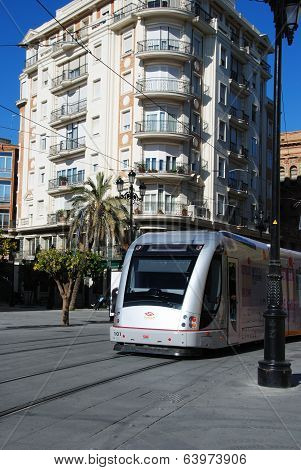 Tram in city center, Seville.