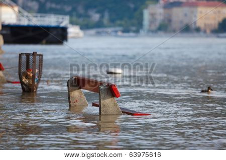 The river Danube flooding in Budapest