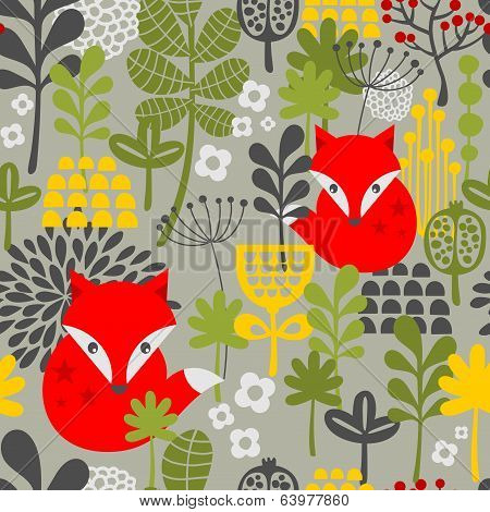 Seamless vintage fox and flowers pattern.