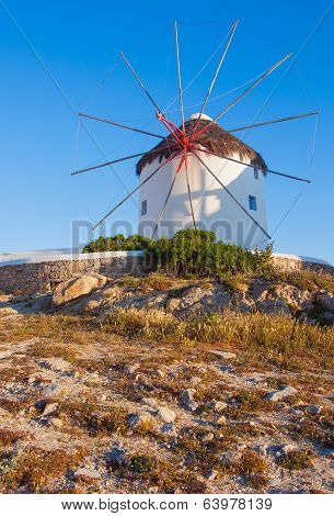 Windmill On A Hill Near The Sea On The Island Of Mykonos