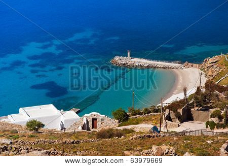 View From The Height Of The Mountain On The Island Of Mykonos: The Hotels, The White Buildings, The