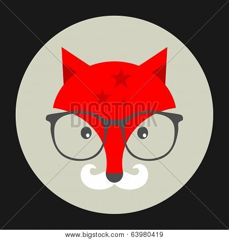 Hipster emblem with fox in glasses.