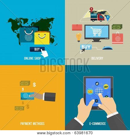 Online Shop, E-commerce, Payment And Delivery
