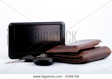 GPS With Car Keys and Wallet