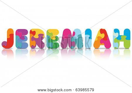 JEREMIAH written with alphabet puzzle - vector illustration