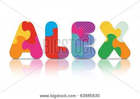 ALEX written with alphabet puzzle - vector illustration
