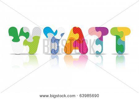 WYATT written with alphabet puzzle - vector illustration