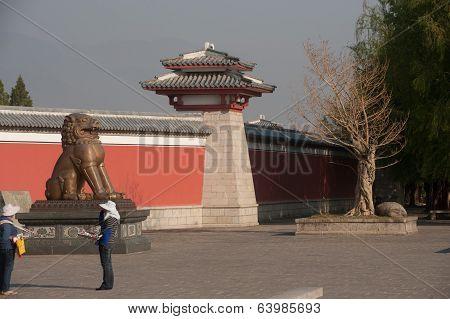 The Bronze Lion Front Of Pavilion.