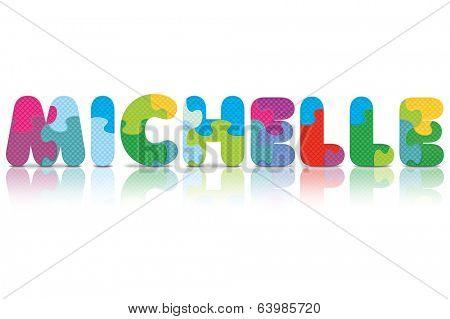MICHELLE written with alphabet puzzle - vector illustration