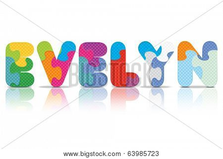 EVELYN written with alphabet puzzle - vector illustration