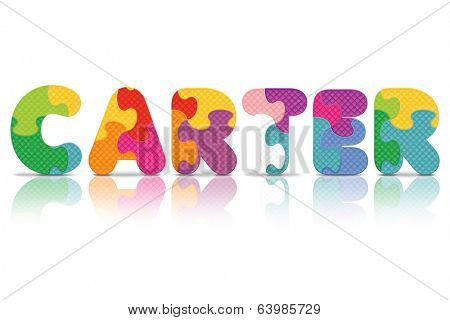 CARTER written with alphabet puzzle - vector illustration