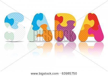 SARA written with alphabet puzzle - vector illustration