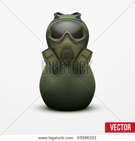 Russian matrioshka in military suit and gas mask.