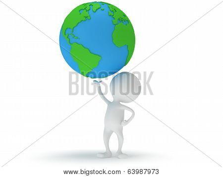3d man stand with earth planet globe