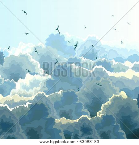 Square Illustration Of Flock, Blue Sky And Clouds.