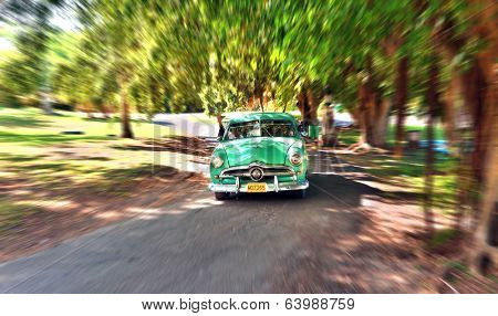 VARADERO, CUBA-MAY 21: Vintage American car in park of Varadero, Cuba. Under the current law that the government plans to change before 2012, Cubans can only trade cars that were on the road before 1959