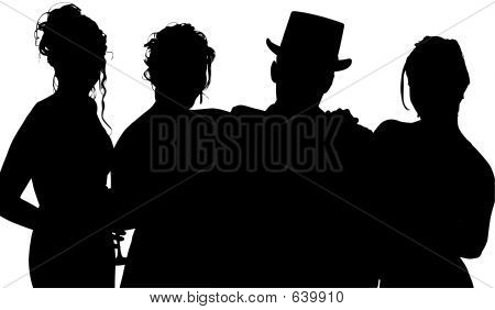 Silhouette With Clipping Path Of Friends In Formalwear