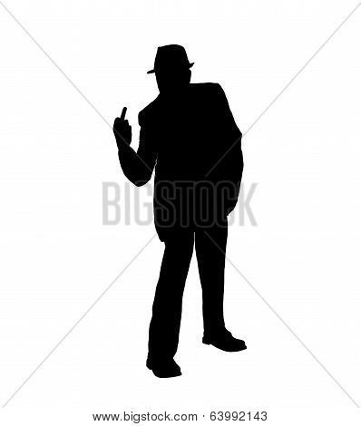 Silhouette of a Man Flipping the Bird