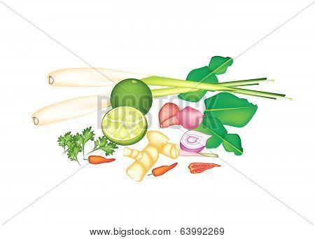 A Stack Of Thai Food Or Thai Cuisine Ingredient