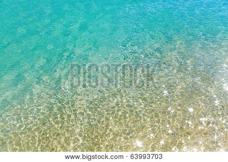 Green water background with sand. Crete, Greece