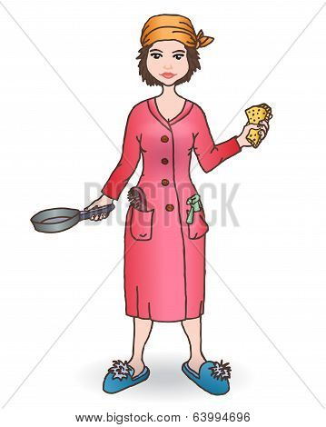 Housewomen with tool. Handdraw illustration.