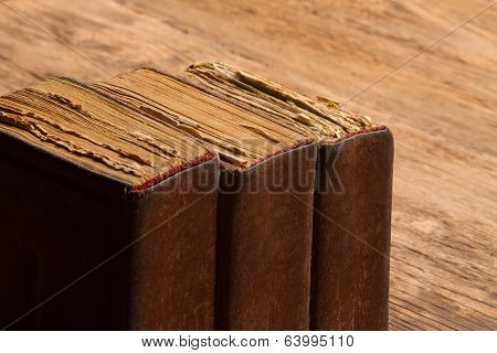 Old Book Stack, Brown Blank Spine Yellow Pages, Macro Of Weathered Aged Cover, Knowledge Concept