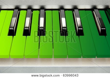 Colorful piano keyboard close-up