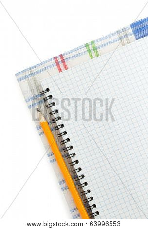 cook book and napkin on white background