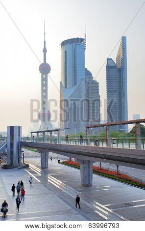 Lujiazui financial centrer and Oriental Pearl Tower, Shanghai