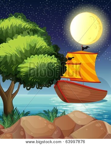 Illustration of a ship across the tree