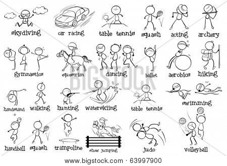 Illustration of the different indoor and outdoor sports on a white background