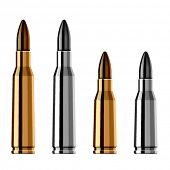 stock photo of projectile  - vector weapon gun bullet cartridge - JPG