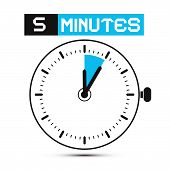 stock photo of chronometer  - Five Minutes Stop Watch  - JPG