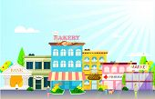 stock photo of buildings  - Small town with small and medium business - JPG