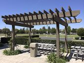 pic of pergola  - Aluminum dining table under light shading pergola - JPG