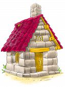 picture of baby pig  - Fairy house of bricks tile and stones from Three Little Pigs fairy tale - JPG