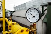 stock photo of manometer  - Closeup of Manometer of an air compressor - JPG