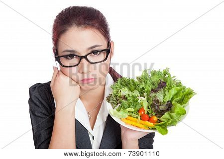 Asian Business Woman Bored With Salad Bowl