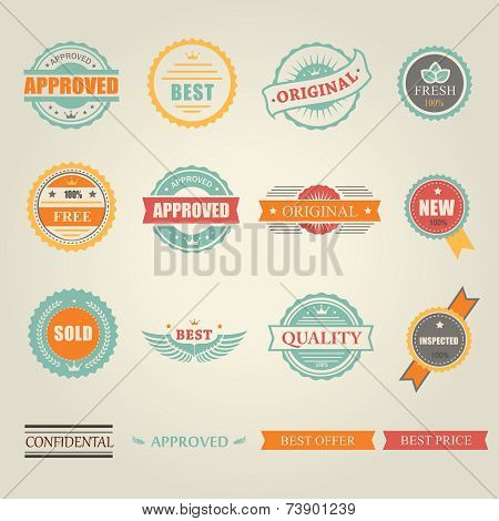 Set of vector colored emblems and stamps  depicting  approved  free  original  inspected fresh new s